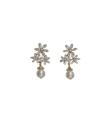 Floral Pearl Drop Wedding Earrings | Silver Moon