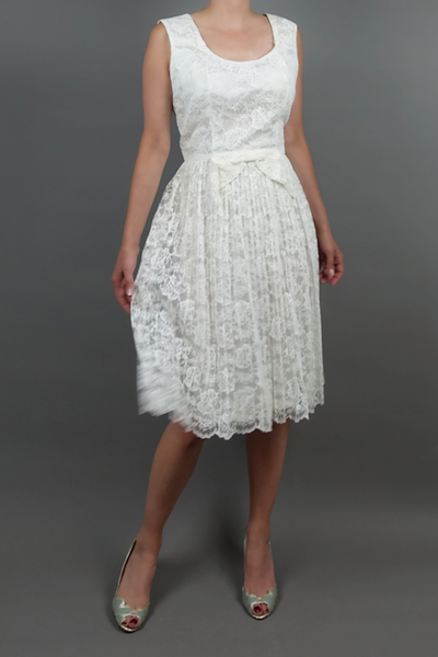 Vintage 1960 Little White Dress | Silver Moon | Front