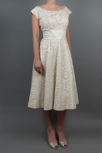 Vintage 1950 Lace Party Dress | Little White Dresses | Silver Moon | Front