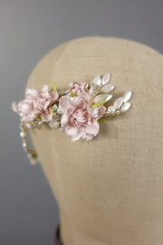 Fabric Rose Hair Wreath | Silver Moon | Detail