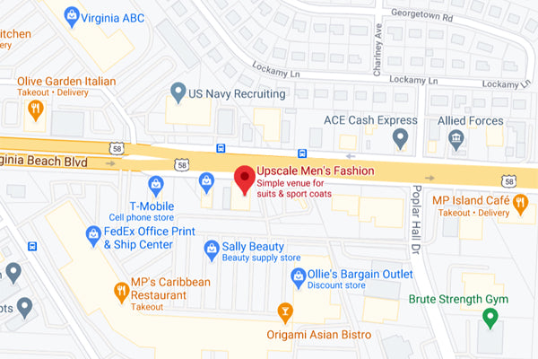 Upscale Men's Fashion Norfolk VA Location Map