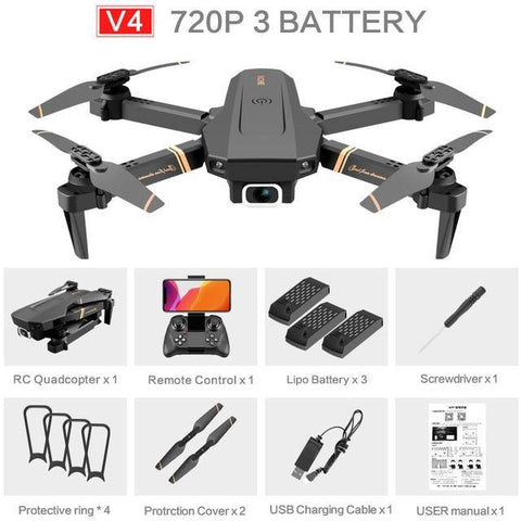 4DRC V4 Drone with 1080P HD Camera for Adults and Kids, Foldable Quadcopter with Wide Angle FPV Live Video, Trajectory Flight, App Control,Optical Flow, Altitude Hold Altitude Hold Durable RC Quadcopter-Drone Direct Shop-720P-3Battery-Drone Direct Shop