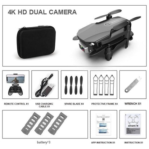 Fpv Mini Drone 4k HD Dual Camera-Drone-DroneDirectShop-4K Dual Black 3 Batteries-Drone Direct Shop