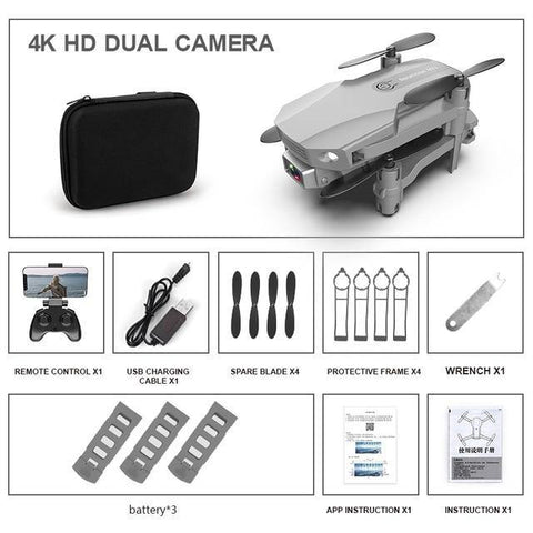 Fpv Mini Drone 4k HD Dual Camera-Drone-DroneDirectShop-4K Dual Grey3 Batteries-Drone Direct Shop