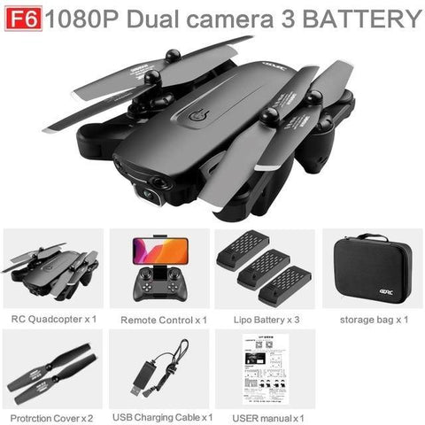 4DRC - F6 Drone GPS 4K 5G WiFi Live Video FPV Quadrotor Flight-Drone Direct Shop-1080P 3 battery-Drone Direct Shop
