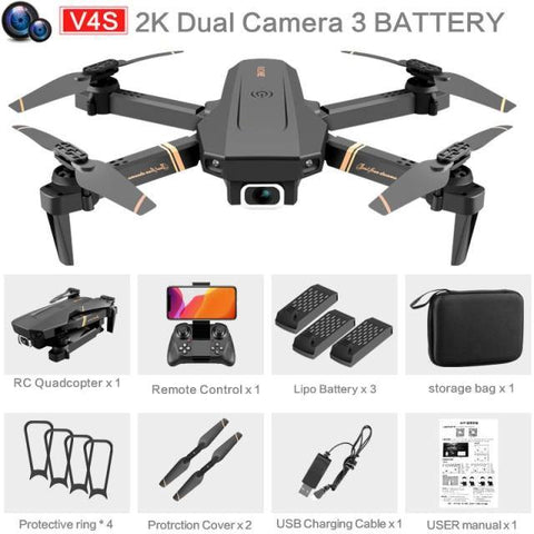 4DRC V4 Drone with 1080P HD Camera for Adults and Kids, Foldable Quadcopter with Wide Angle FPV Live Video, Trajectory Flight, App Control,Optical Flow, Altitude Hold Altitude Hold Durable RC Quadcopter-Drone Direct Shop-2K-Dual camera-3B-Drone Direct Shop