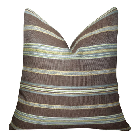 Brown Taupe Premium Throw Pillow For Sofa Stripe Couch