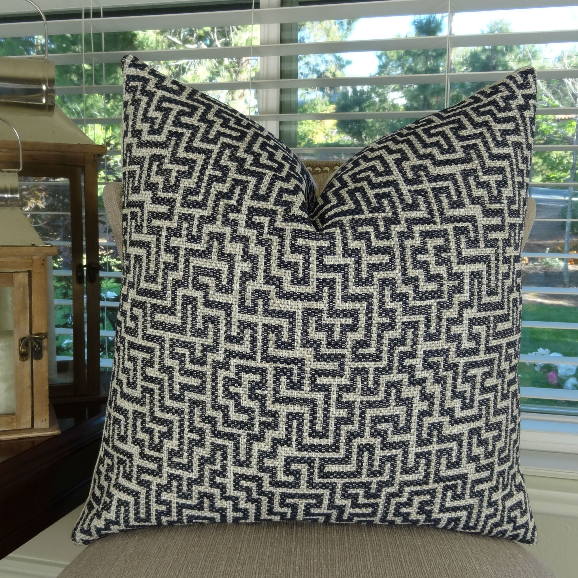 Navy Taupe Luxury Throw Pillow, Geometric Accent Pillow, 16 ...