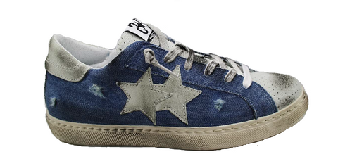 2Star 2SU2660 Men's Low Blue Denim Vintage Sneaker