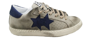 2Star 2SU2673 Sneaker Uomo Low Taupe Beige-Blu Made In Italy