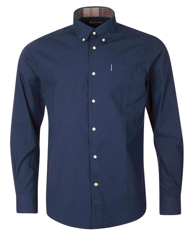 Barbour MSH4716-NY91 Stretch Poplin Cotton Shirt Button Down Tartan Collar BLU Navy