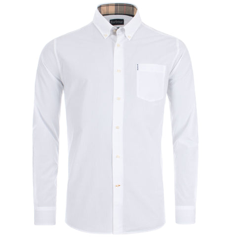 Barbour MSH4716-W11 Stretch Poplin Cotton Shirt Button Down Tartan Collar WHITE