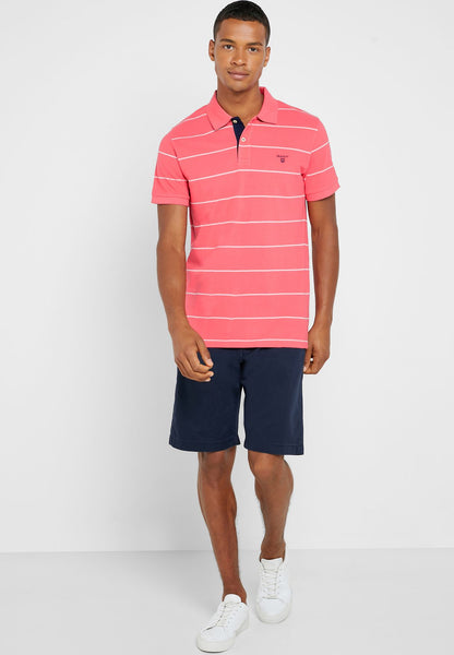 GANT 2022058-648 3Colors Contrast Collar Pique' Polo SS Rugger WATERMELON RED