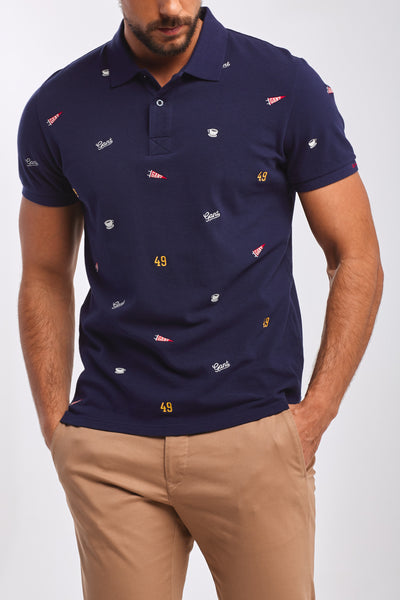 GANT 2022074-433 French Embroidery Contrast Collar Pique' Polo SS Rugger BLU NAVY