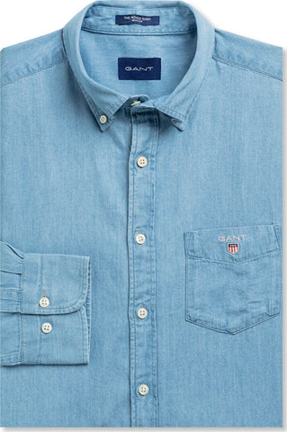 Gant 3040520-980 Regular Indigo Button Down Denim Shirt Light Blue