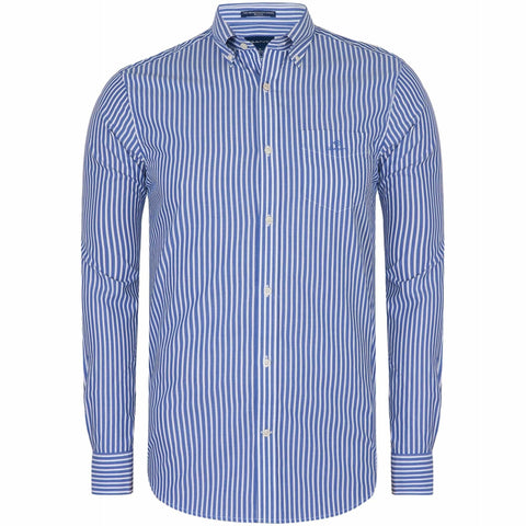 GANT 3062000-436 Broadcloth Stripe Button Down Shirt Camicia Uomo College Blue