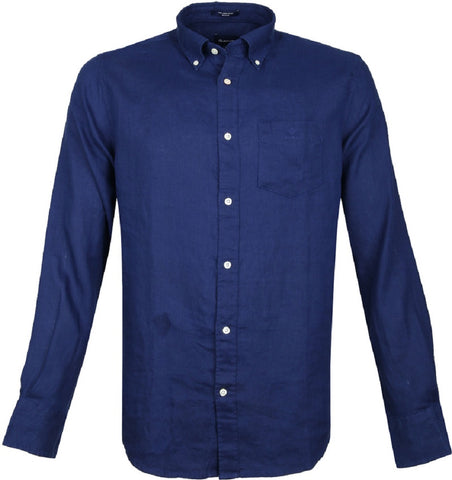 Gant 3012420-405 Regular Linen Button Down Shirt NAVY BLUE