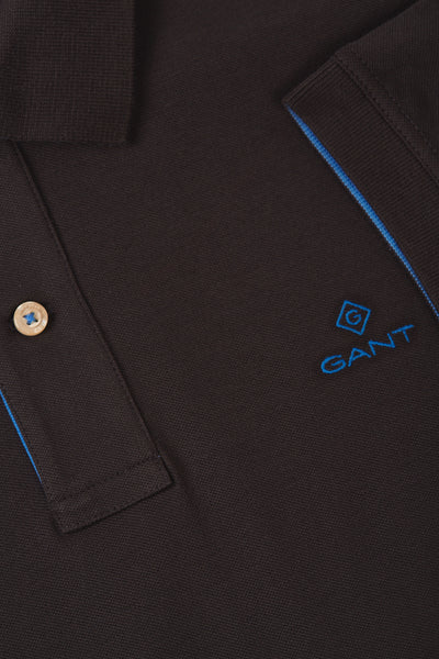 GANT 2052003-011 Contrast Collar Pique' Polo SS Rugger DARK GRAPHITE Grey