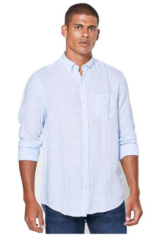 Gant 3012520-468 Regular Striped Linen Button Down Shirt CAPRI BLUE