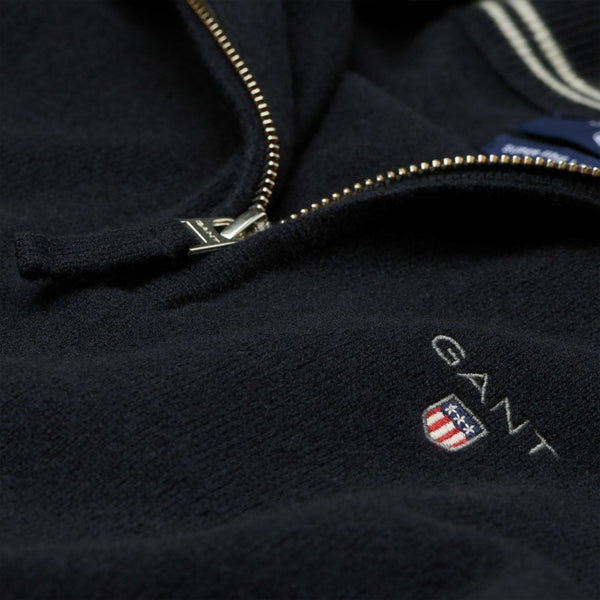 GANT 86213-410 Superfine Lambswool Half Zip Pullover Mezza Zip BLU Navy