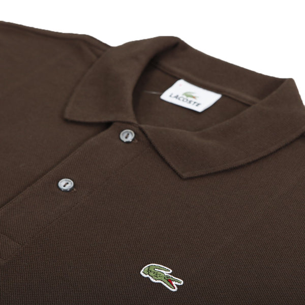 Lacoste L1312-048 Polo Pique' Manica Lunga BROWN Marrone