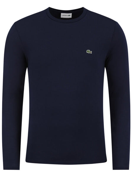 Lacoste TH6712-166 T-Shirt Manica Lunga Cotone BLU navy