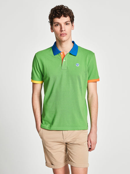 North Sails 692245-432 Contrast Pique' Polo Manica Corta GREEN