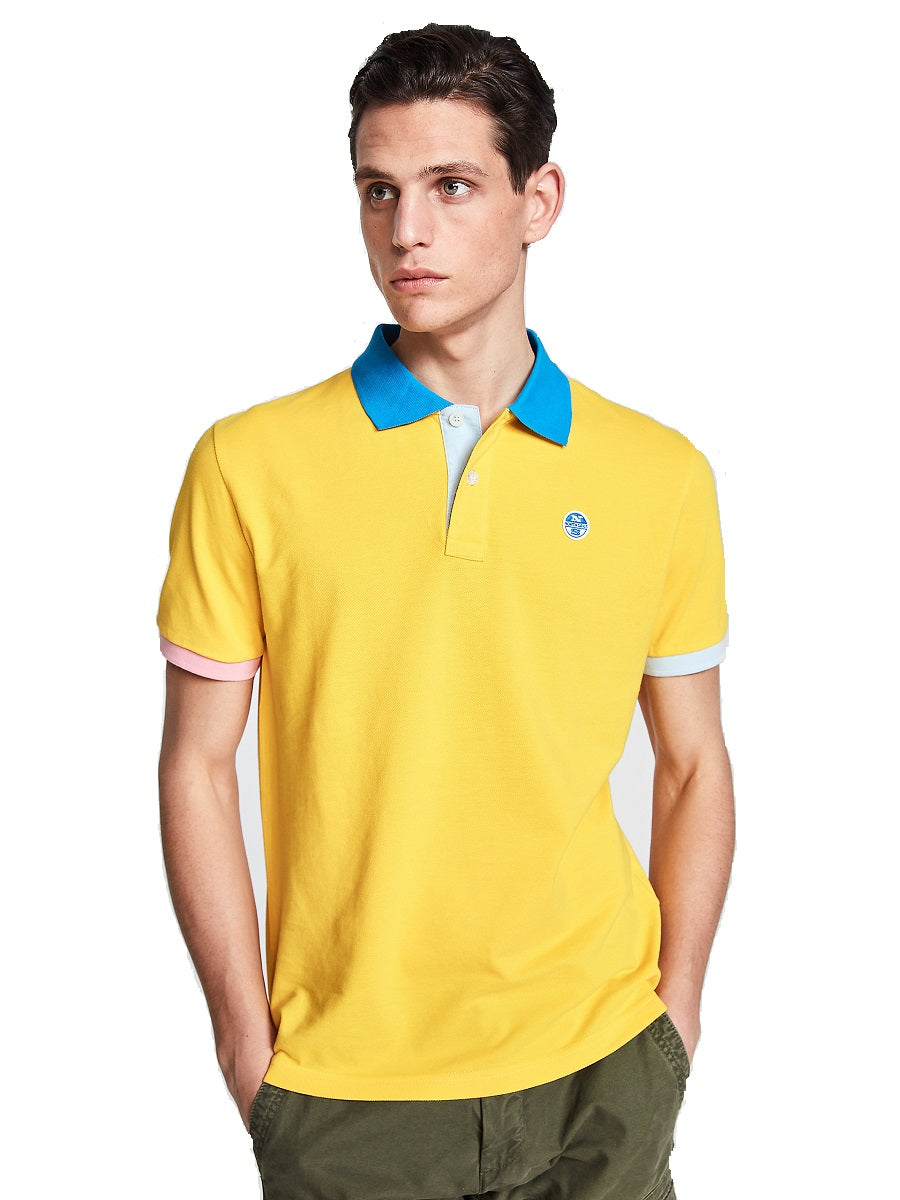 North Sails 692245-604 Contrast Pique' Polo Manica Corta YELLOW
