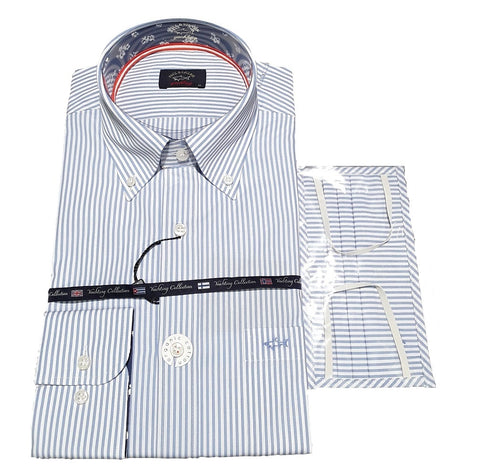 Paul & Shark 21413010-001 Button Down Stripe Cotton Shirt LS + Cover Covid Mask