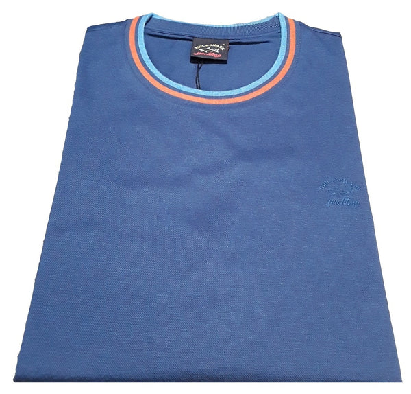 Paul & Shark 21411004-053 Solid Cotton T-Shirt piquè with  embroidered Paul&Shark Logo ROYAL Blue