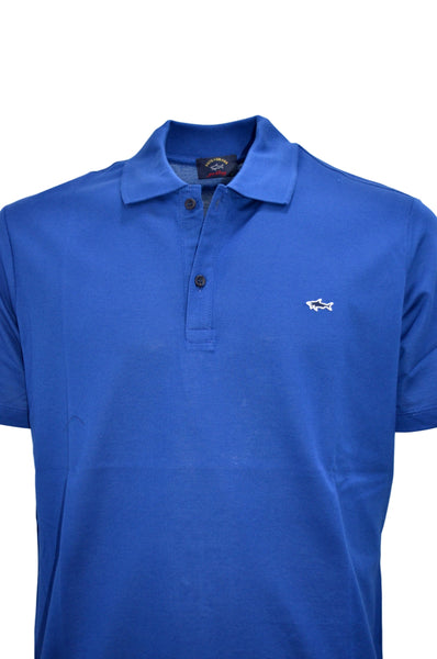 Paul & Shark COP1013-049 Polo in cotone piquè con Shark badge BLU Cobalto