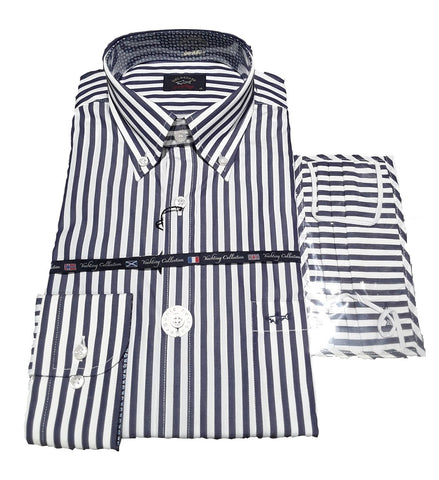Paul & Shark 21413008-002 Button Down Stripe Shirt LS NAVY WHITE + Cover Covid Mask