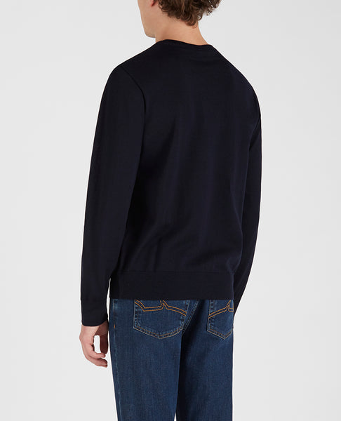Paul & Shark COP1094-050 Pullover Girocollo Lana Pettinata BLU navy