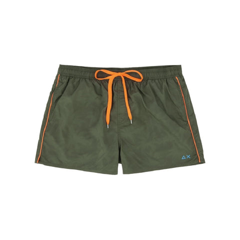 SUN68 H19104-19 Swim Short Water Print Boxer Mare Uomo Military Green