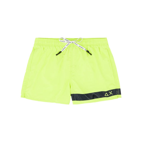 SUN68 H19102-63 Swim Short Solid Big Logo Boxer Mare Uomo YELLOW FLUO Giallo Fluo