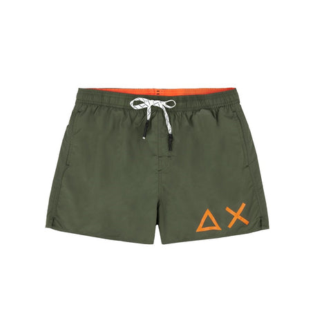 SUN68 H19102-19 Swim Short Solid Big Logo Boxer Mare Uomo Military Green (Verde Militare)