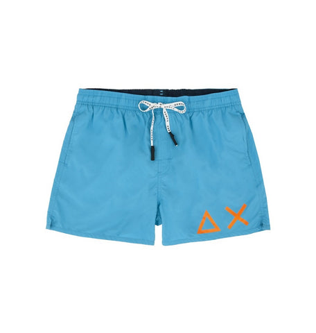 SUN68 H19102-65 Swim Short Solid Big Logo Boxer Mare Uomo Fluo Blue