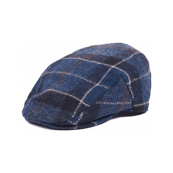 BARBOUR MHA0295-NY91 Moon Tweed Flat Cap Navy Tartan