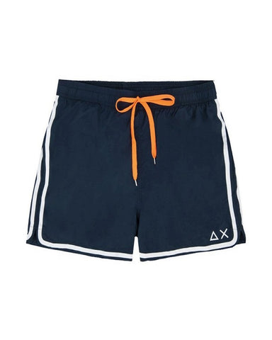SUN68 H19103-07 Swim Short Side Band Boxer Mare Uomo Navy Blue