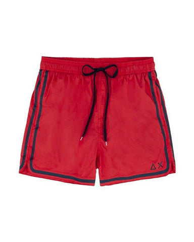 SUN68 H19103-10 Swim Short Side Band Boxer Mare Uomo Red (Rosso)