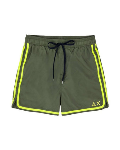 SUN68 H19103-19 Swim Short Side Band Boxer Mare Uomo Military Green - Yellow Fluo