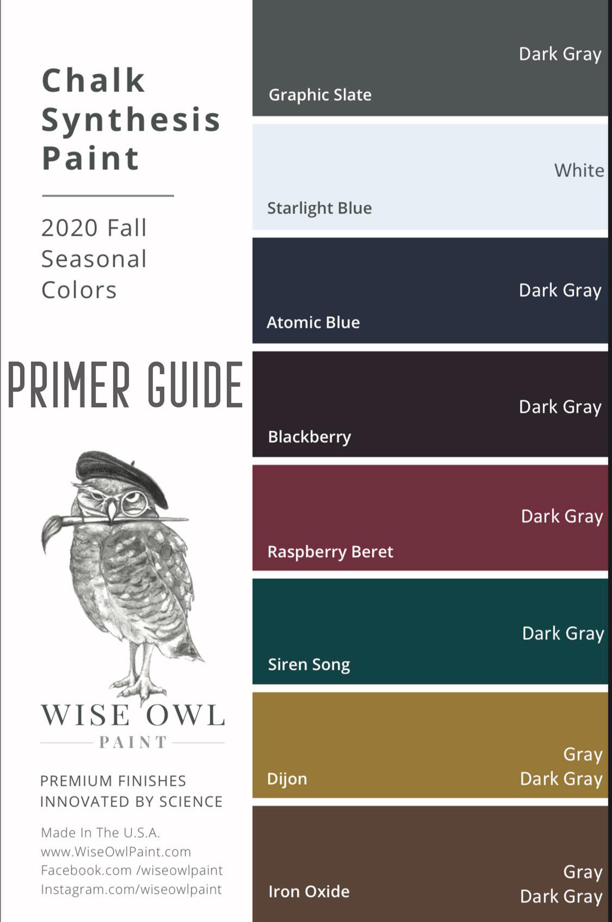 Wise Owl Paint color chart with which primer you should use.