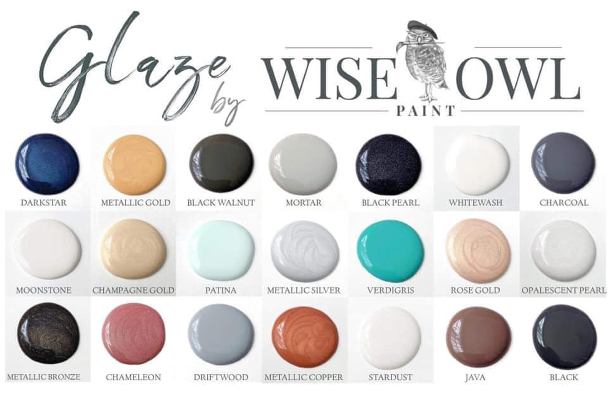 Wise Owl Paint Glaze color chart. Available at zacs4you.com