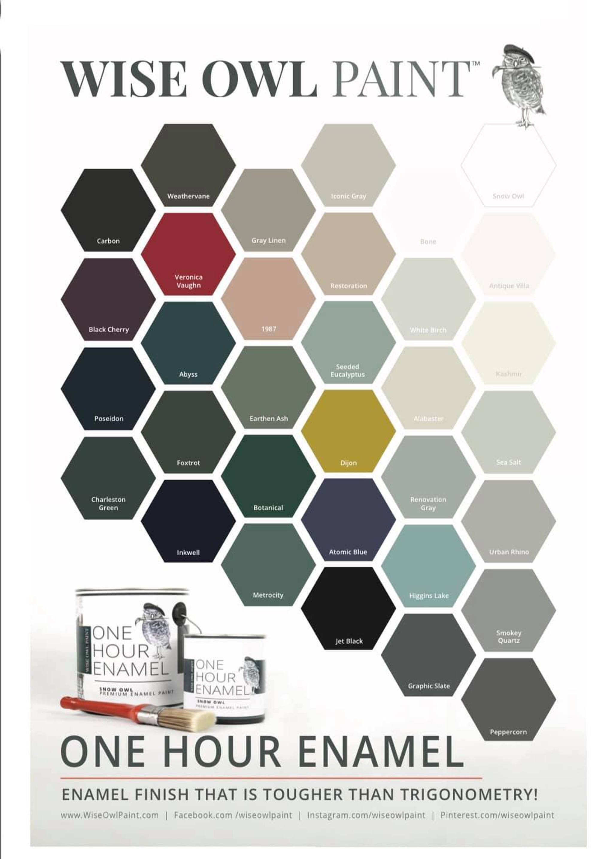One Hour Enamel Color Chart. Available at zacs4you.com.