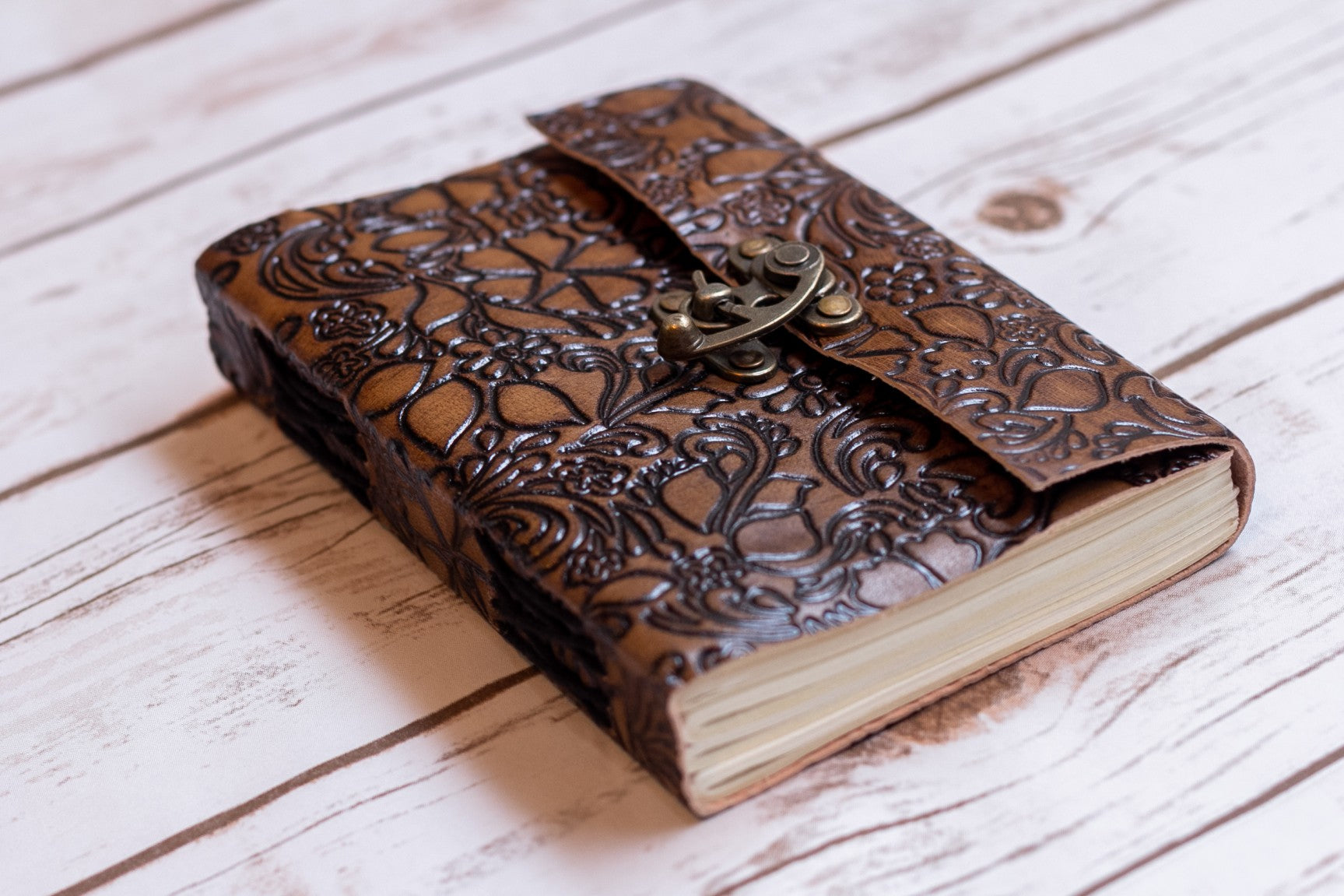Floral Embossed Latch Journal