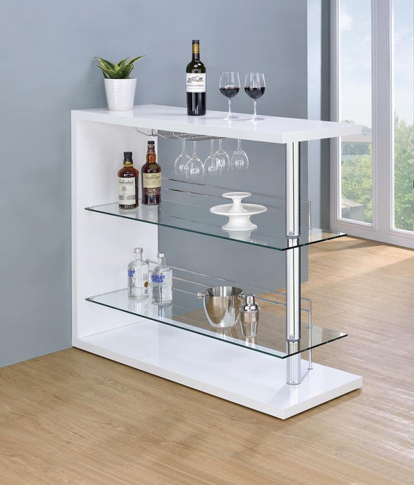 G100167 Two-Shelf Contemporary Bar Unit with Wine Holder image