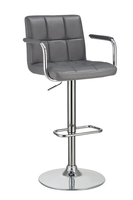 G121096 Contemporary Grey and Chrome Adjustable Bar Stool with Arms image