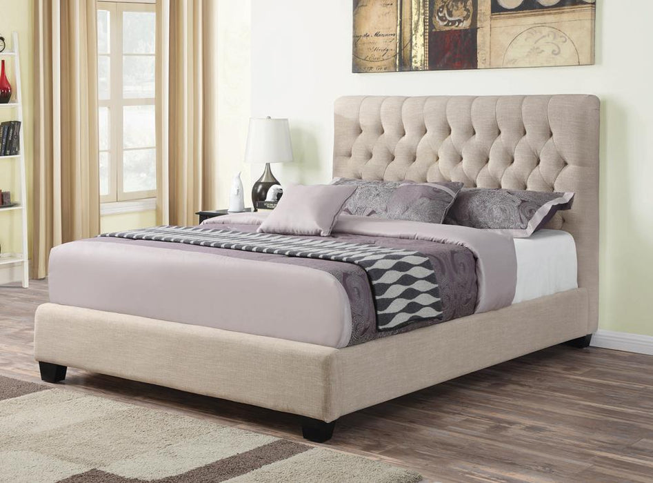Chloe Transitional Oatmeal Upholstered California King Bed image