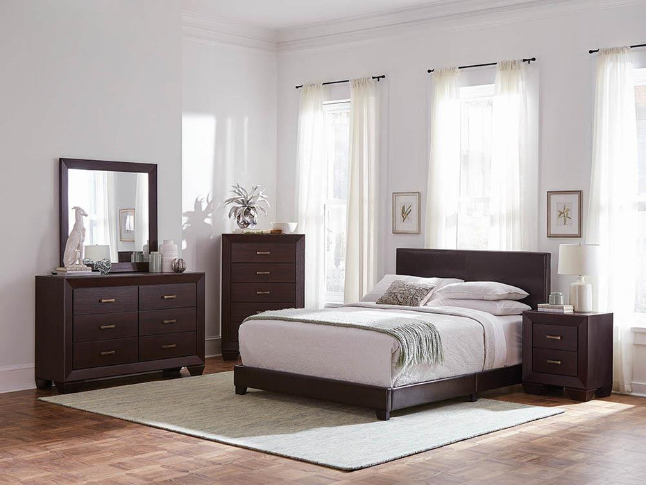 Dorian Brown Faux Leather Upholstered King Bed image