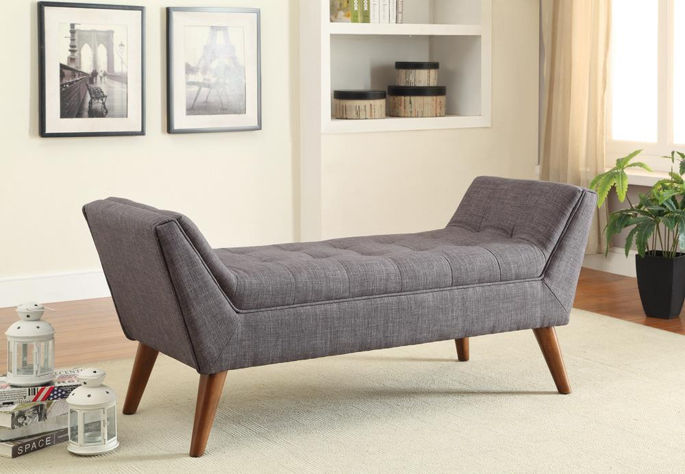 Grey Mid-Century Modern Accent Bench image